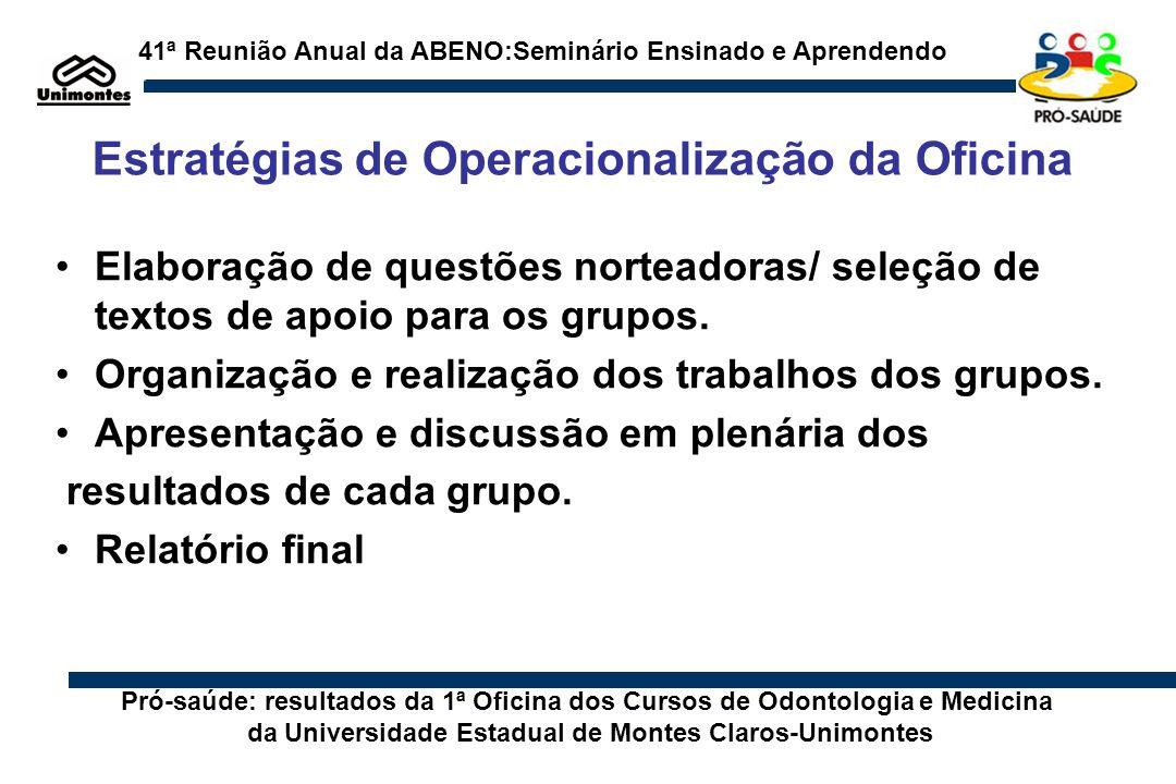 Estratégias de Operacionalização da Oficina