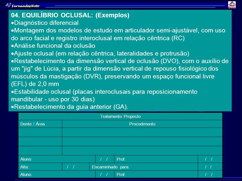 04. EQUILÍBRIO OCLUSAL: (Exemplos) Diagnóstico diferencial