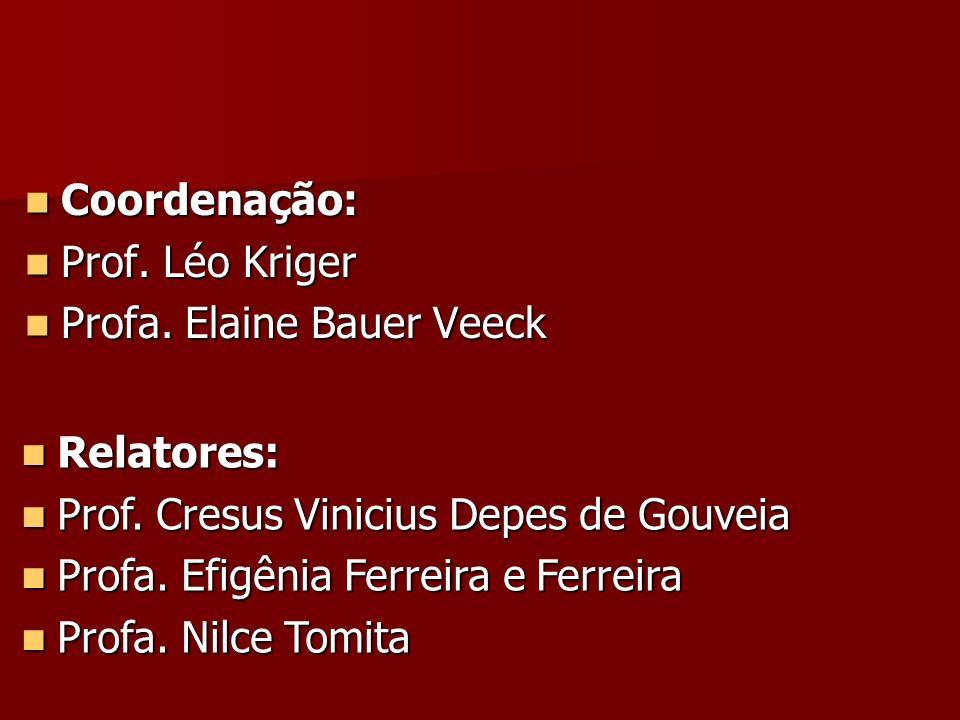 Coordenação: Prof. Léo Kriger. Profa. Elaine Bauer Veeck. Relatores: Prof. Cresus Vinicius Depes de Gouveia.