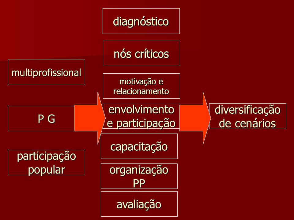 envolvimento e participação diversificação de cenários P G