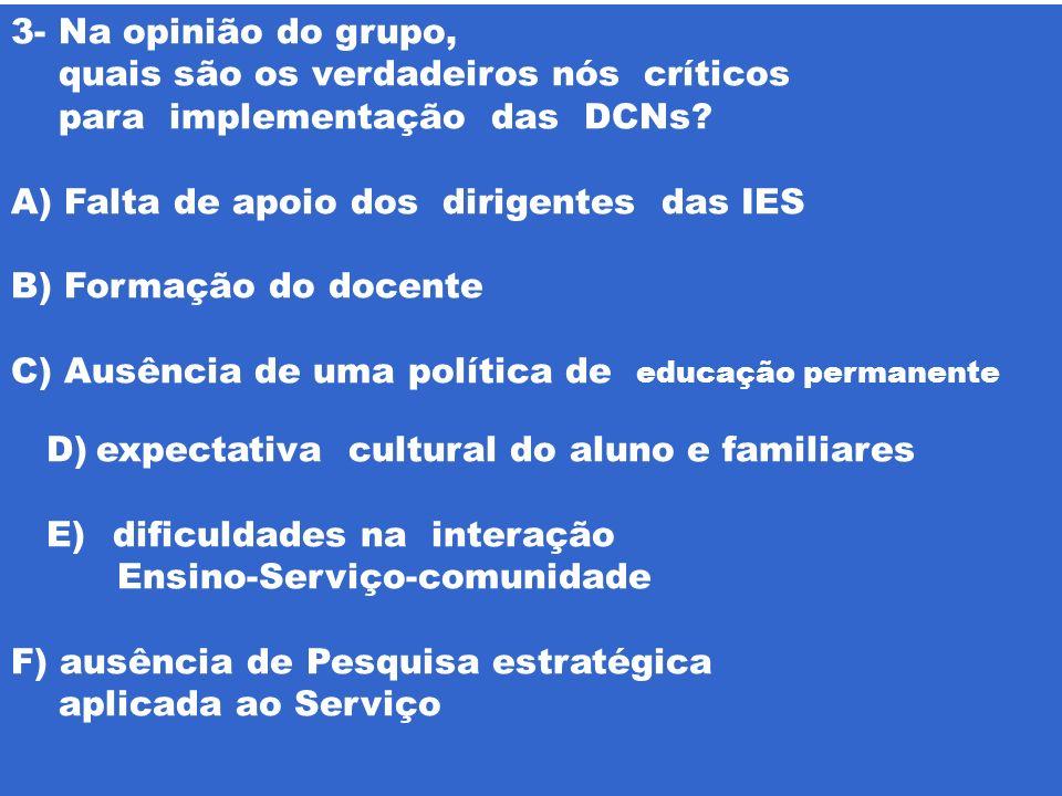 3- Na opinião do grupo, quais são os verdadeiros nós críticos. para implementação das DCNs Falta de apoio dos dirigentes das IES.