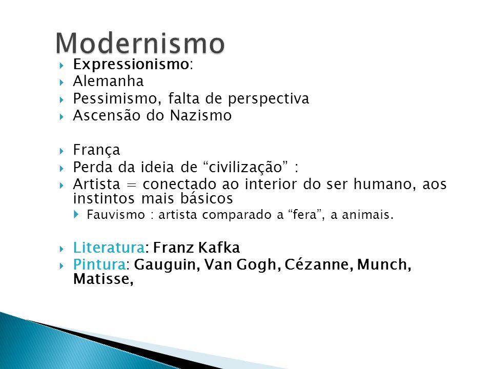 Modernismo Expressionismo: Alemanha Pessimismo, falta de perspectiva