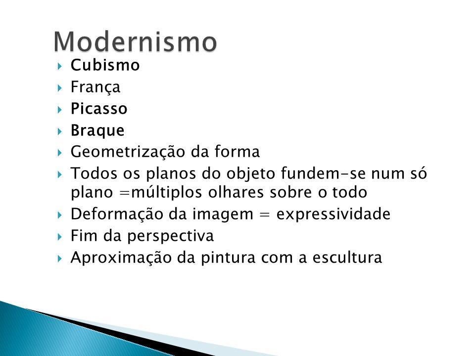 Modernismo Cubismo França Picasso Braque Geometrização da forma