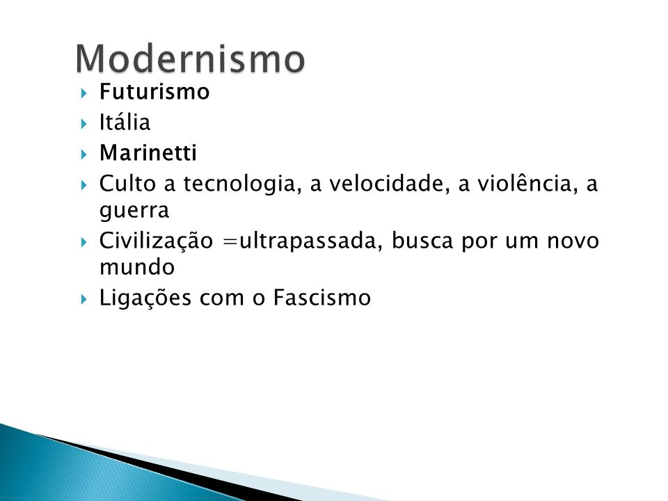 Modernismo Futurismo Itália Marinetti