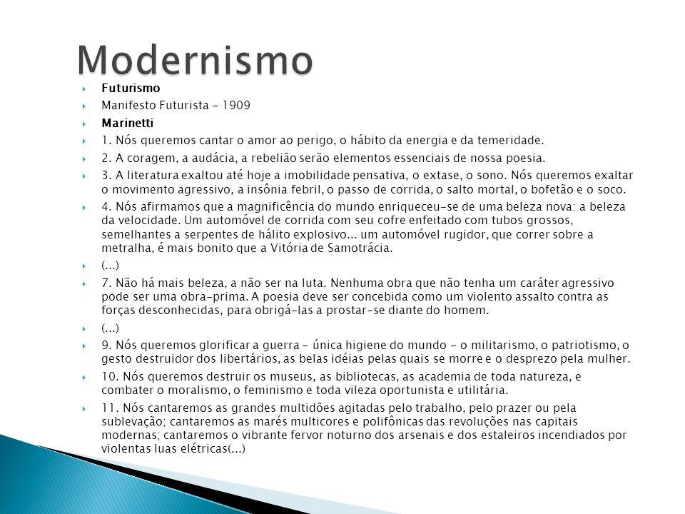 Modernismo Futurismo Manifesto Futurista - 1909 Marinetti