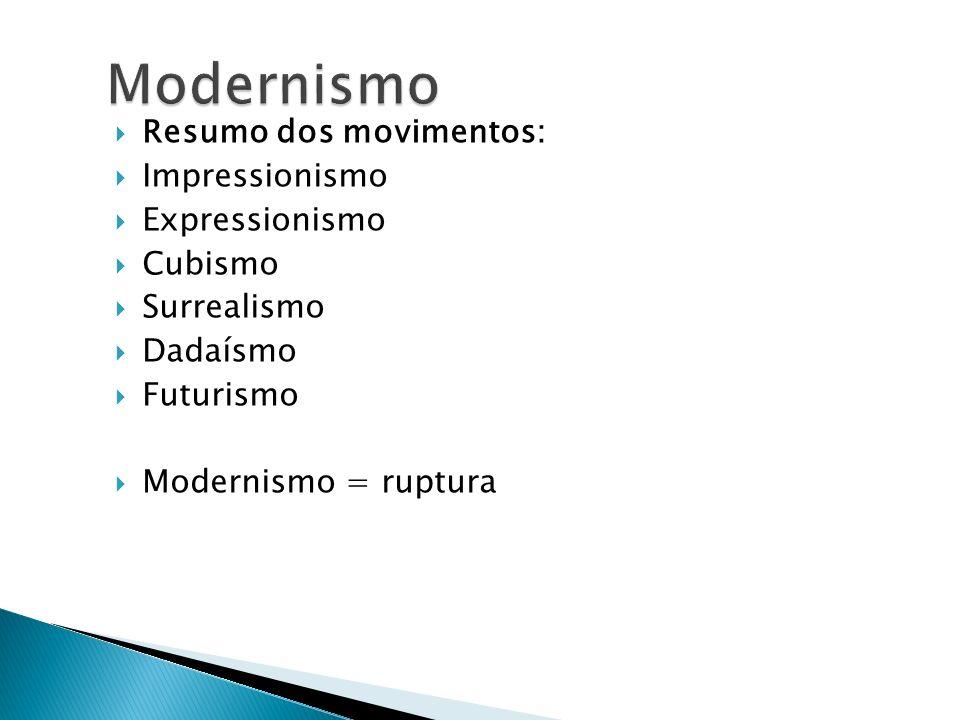 Modernismo Resumo dos movimentos: Impressionismo Expressionismo