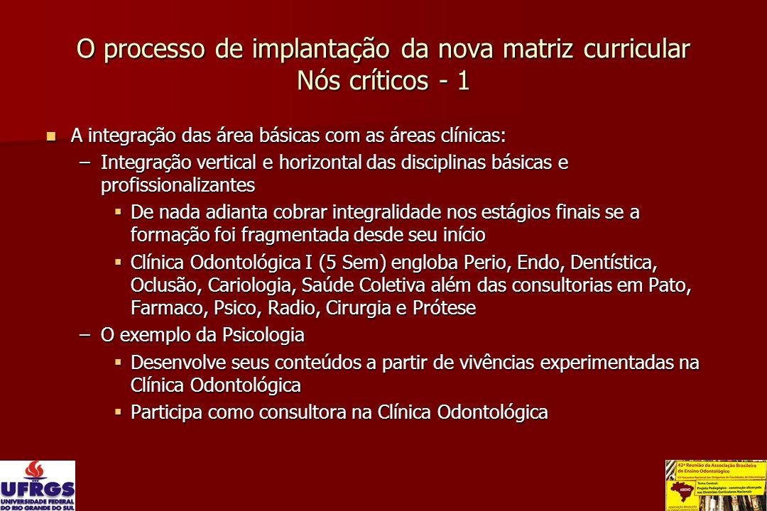 O processo de implantação da nova matriz curricular Nós críticos - 1