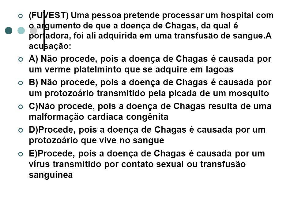 (FUVEST) Uma pessoa pretende processar um hospital com o argumento de que a doença de Chagas, da qual é portadora, foi ali adquirida em uma transfusão de sangue.A acusação: