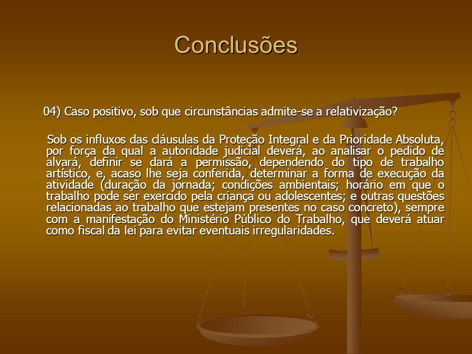 Conclusões 04) Caso positivo, sob que circunstâncias admite-se a relativização