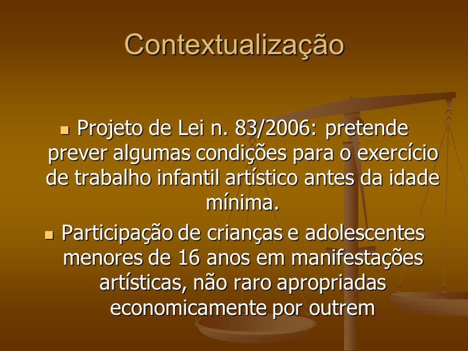 Contextualização Projeto de Lei n. 83/2006: pretende prever algumas condições para o exercício de trabalho infantil artístico antes da idade mínima.