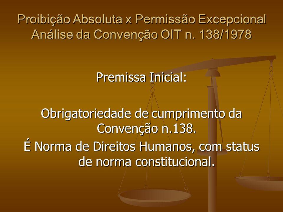 Obrigatoriedade de cumprimento da Convenção n.138.