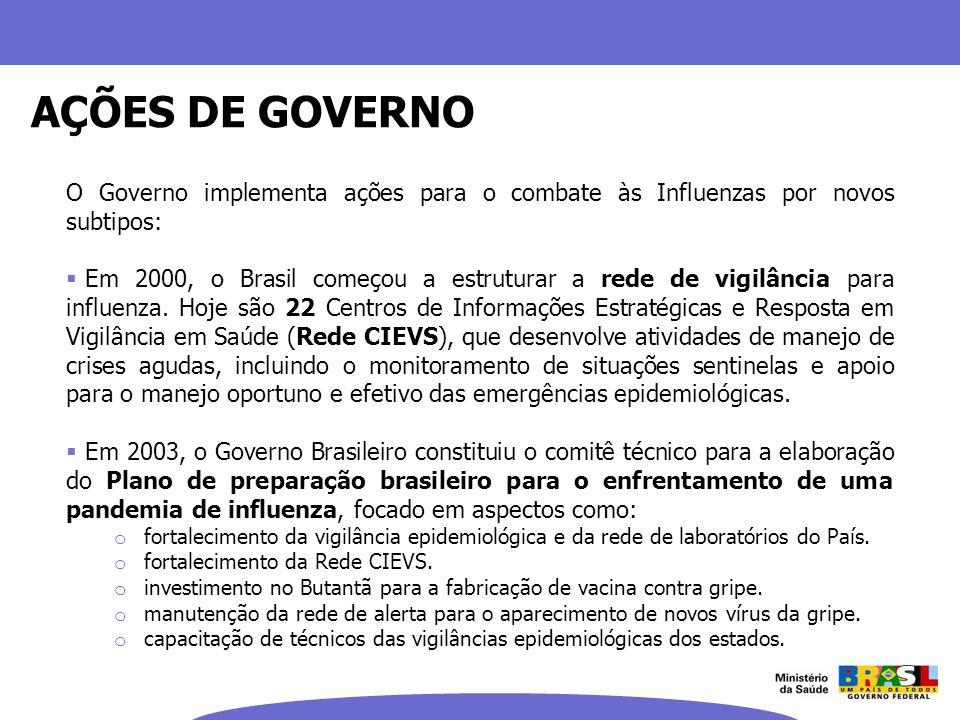 AÇÕES DE GOVERNO O Governo implementa ações para o combate às Influenzas por novos subtipos:
