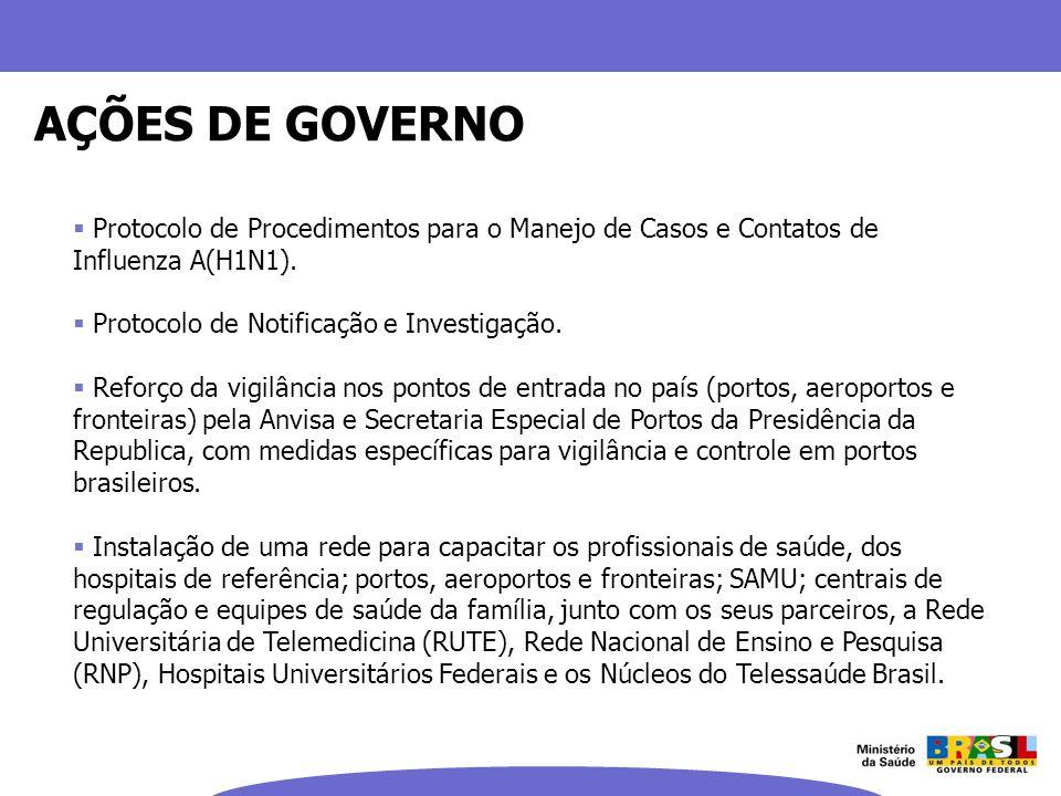 AÇÕES DE GOVERNOProtocolo de Procedimentos para o Manejo de Casos e Contatos de Influenza A(H1N1). Protocolo de Notificação e Investigação.