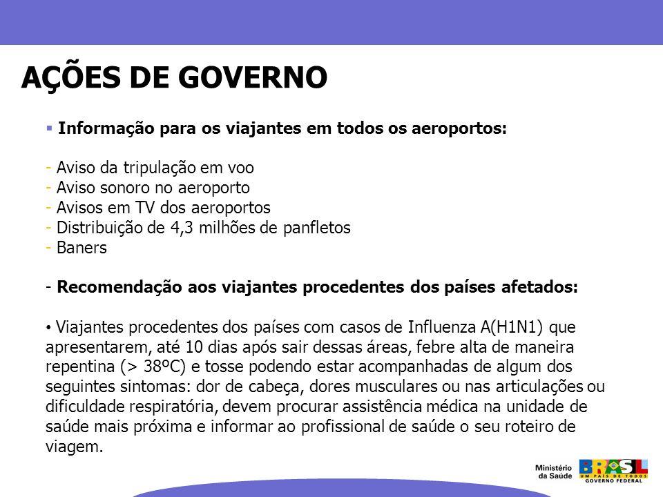 AÇÕES DE GOVERNO Informação para os viajantes em todos os aeroportos: