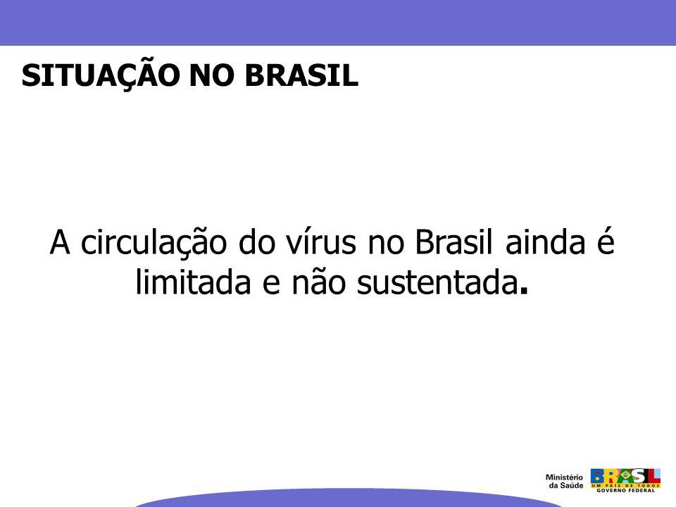 A circulação do vírus no Brasil ainda é limitada e não sustentada.