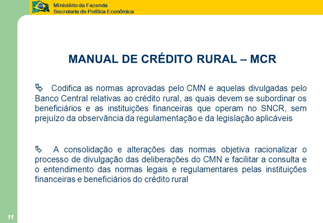 MANUAL DE CRÉDITO RURAL – MCR