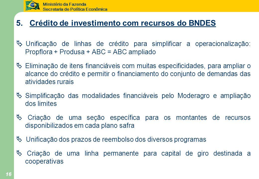 5. Crédito de investimento com recursos do BNDES