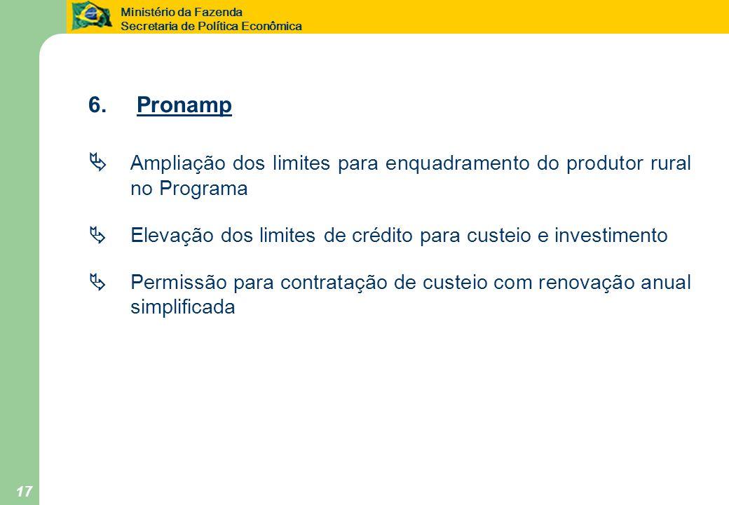 6. Pronamp  Ampliação dos limites para enquadramento do produtor rural no Programa.