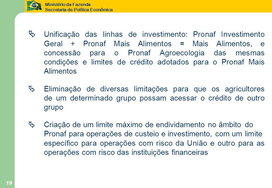 . Unificação das linhas de investimento: Pronaf Investimento