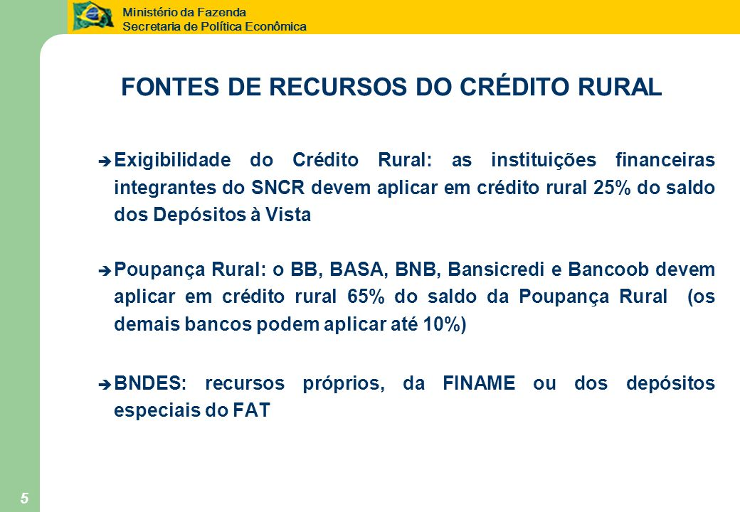 FONTES DE RECURSOS DO CRÉDITO RURAL