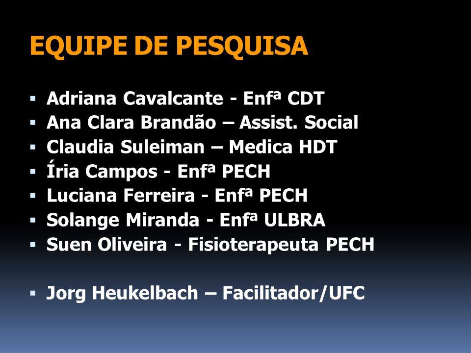EQUIPE DE PESQUISA Adriana Cavalcante - Enfª CDT