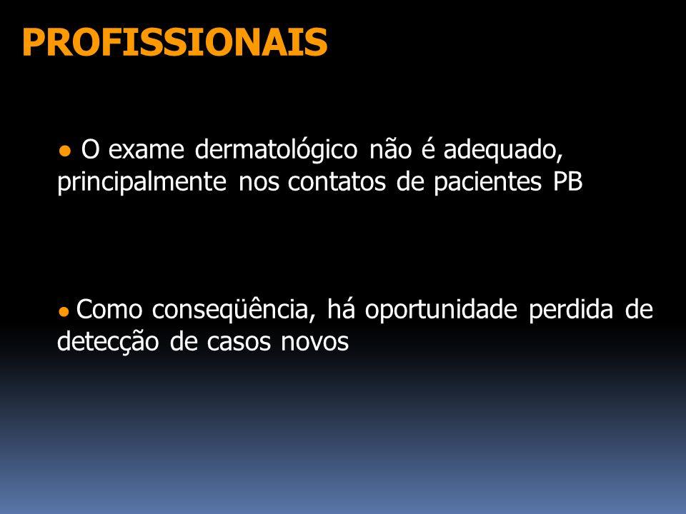 PROFISSIONAIS ● O exame dermatológico não é adequado, principalmente nos contatos de pacientes PB.