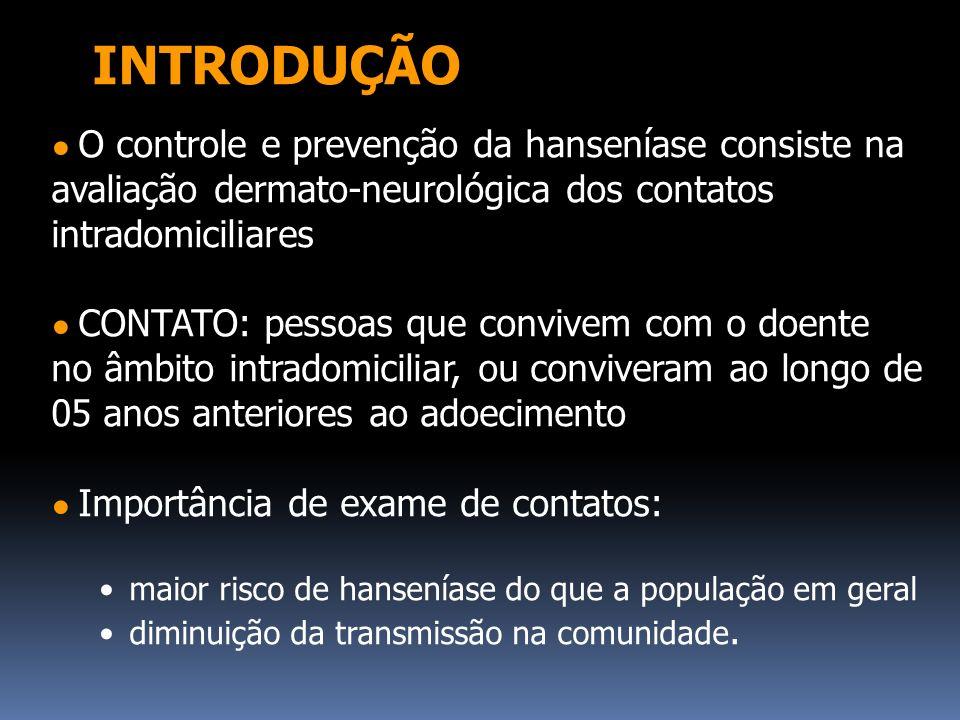 INTRODUÇÃO ● O controle e prevenção da hanseníase consiste na avaliação dermato-neurológica dos contatos intradomiciliares.