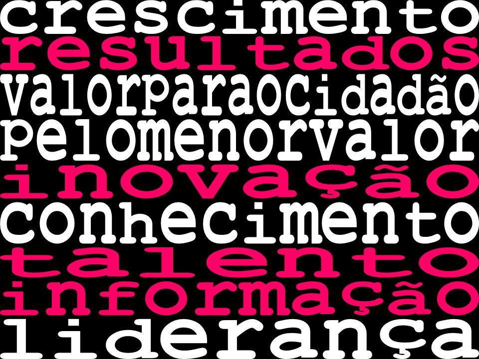 crescimento resultados. valorparaocidadão. pelomenorvalor. inovação. conhecimento. talento. informação.