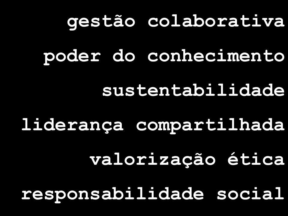 gestão colaborativa poder do conhecimento. sustentabilidade. liderança compartilhada. valorização ética.