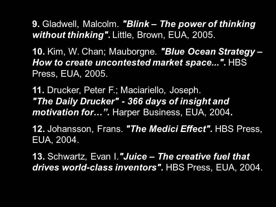 9. Gladwell, Malcolm. Blink – The power of thinking without thinking