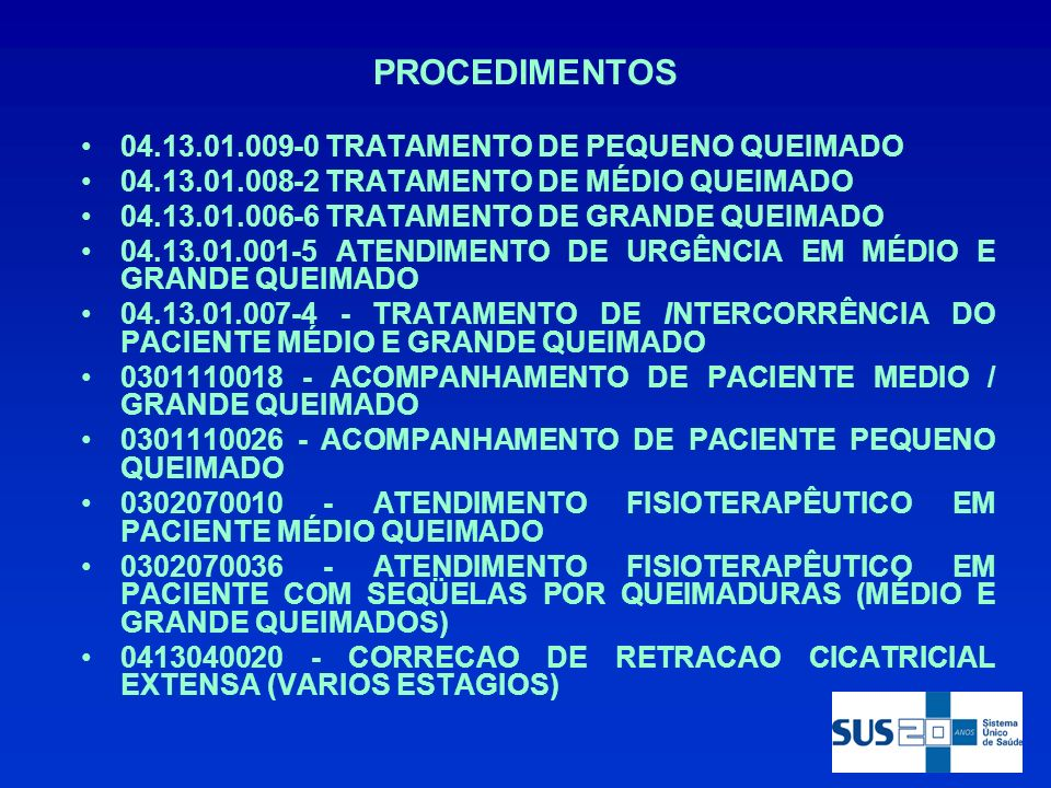 PROCEDIMENTOS 04.13.01.009-0 TRATAMENTO DE PEQUENO QUEIMADO