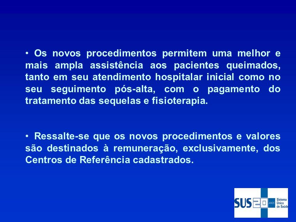 Os novos procedimentos permitem uma melhor e mais ampla assistência aos pacientes queimados, tanto em seu atendimento hospitalar inicial como no seu seguimento pós-alta, com o pagamento do tratamento das sequelas e fisioterapia.