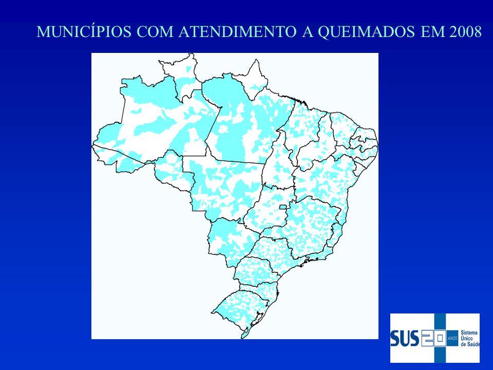 MUNICÍPIOS COM ATENDIMENTO A QUEIMADOS EM 2008