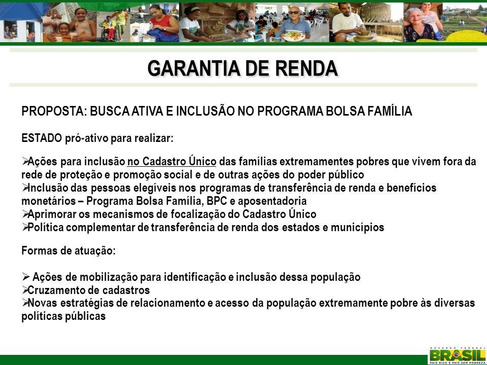 GARANTIA DE RENDA PROPOSTA: BUSCA ATIVA E INCLUSÃO NO PROGRAMA BOLSA FAMÍLIA. ESTADO pró-ativo para realizar:
