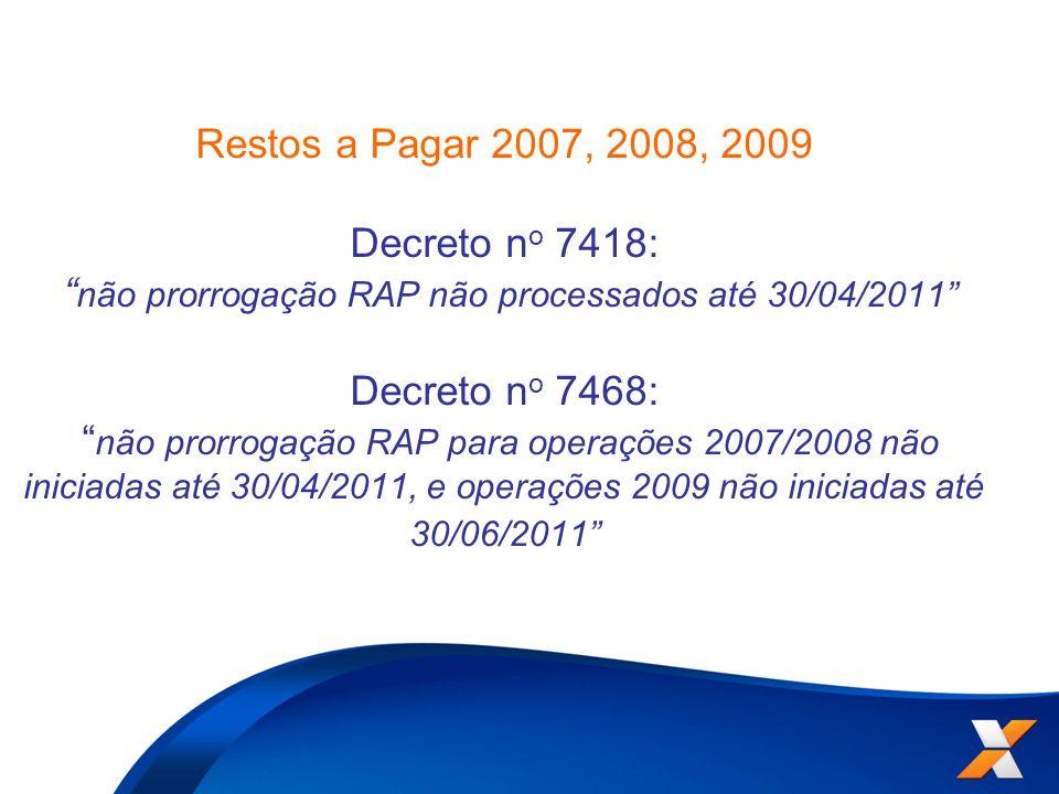 Restos a Pagar 2007, 2008, 2009 Decreto no 7418: não prorrogação RAP não processados até 30/04/2011 Decreto no 7468: não prorrogação RAP para operações 2007/2008 não iniciadas até 30/04/2011, e operações 2009 não iniciadas até 30/06/2011