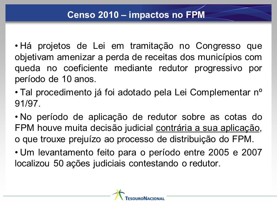 Censo 2010 – impactos no FPM