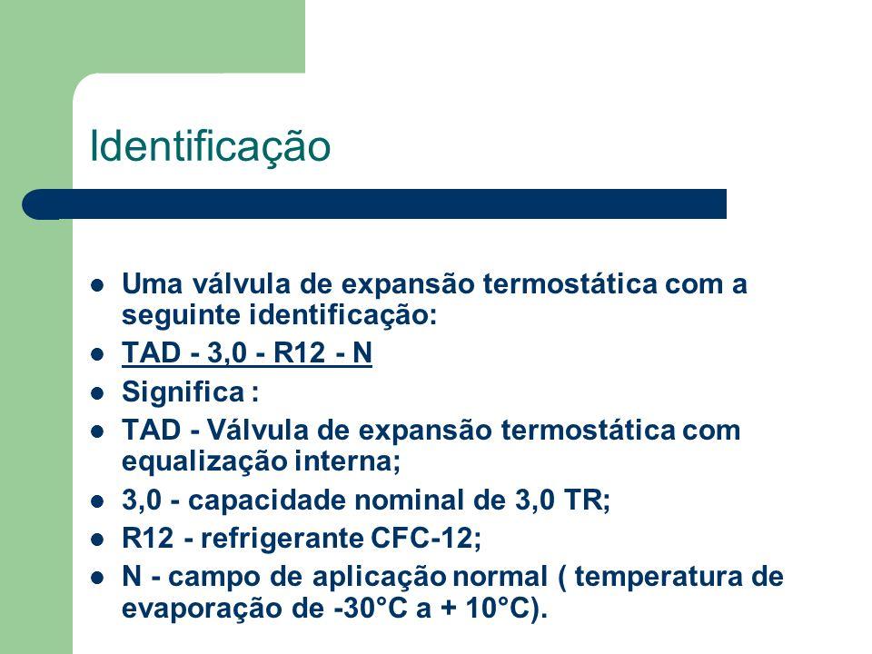 Identificação Uma válvula de expansão termostática com a seguinte identificação: TAD - 3,0 - R12 - N.