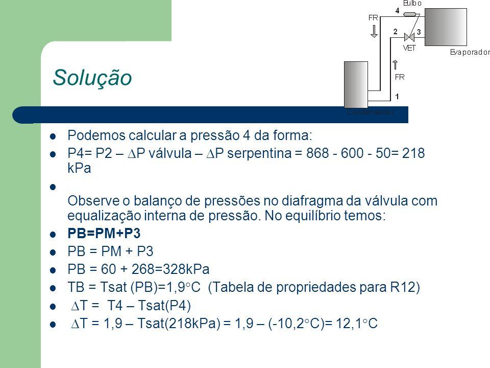 Solução Podemos calcular a pressão 4 da forma: