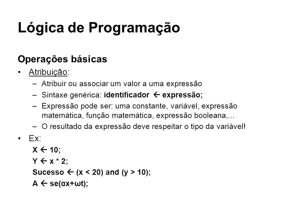 Lógica de Programação Operações básicas Atribuição: Ex:
