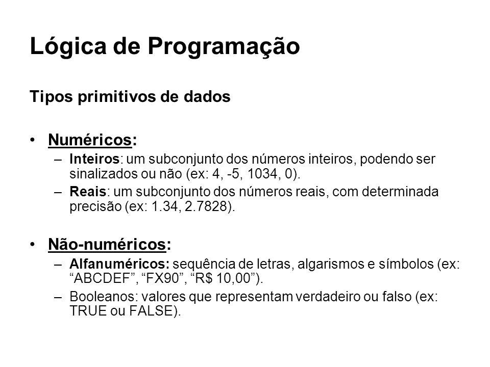 Lógica de Programação Tipos primitivos de dados Numéricos: