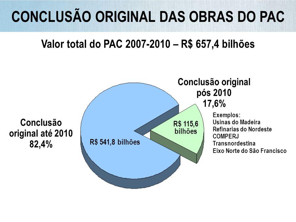 CONCLUSÃO ORIGINAL DAS OBRAS DO PAC