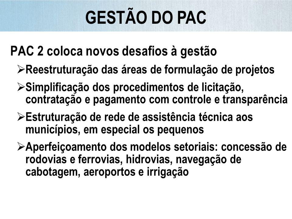 GESTÃO DO PAC PAC 2 coloca novos desafios à gestão