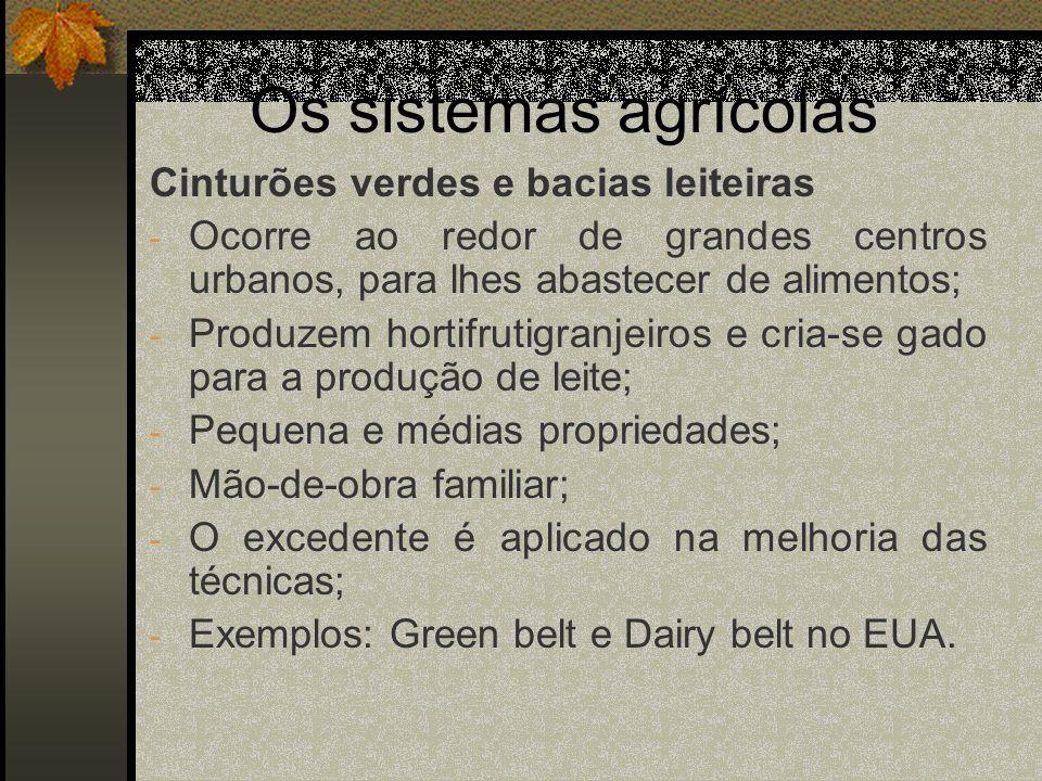 Os sistemas agrícolas Cinturões verdes e bacias leiteiras