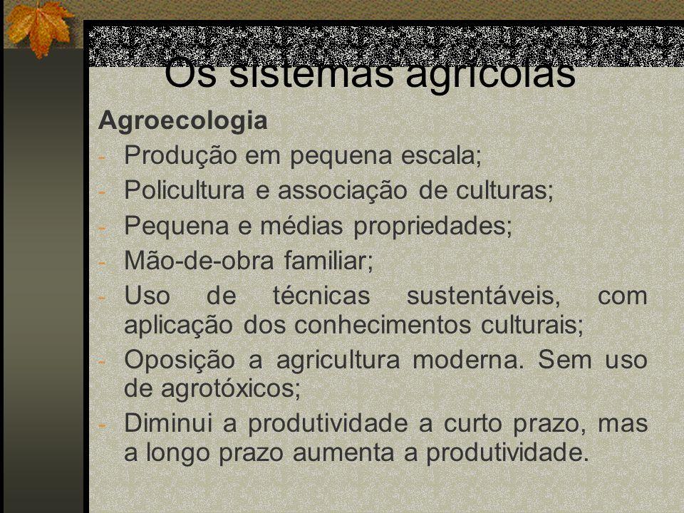 Os sistemas agrícolas Agroecologia Produção em pequena escala;