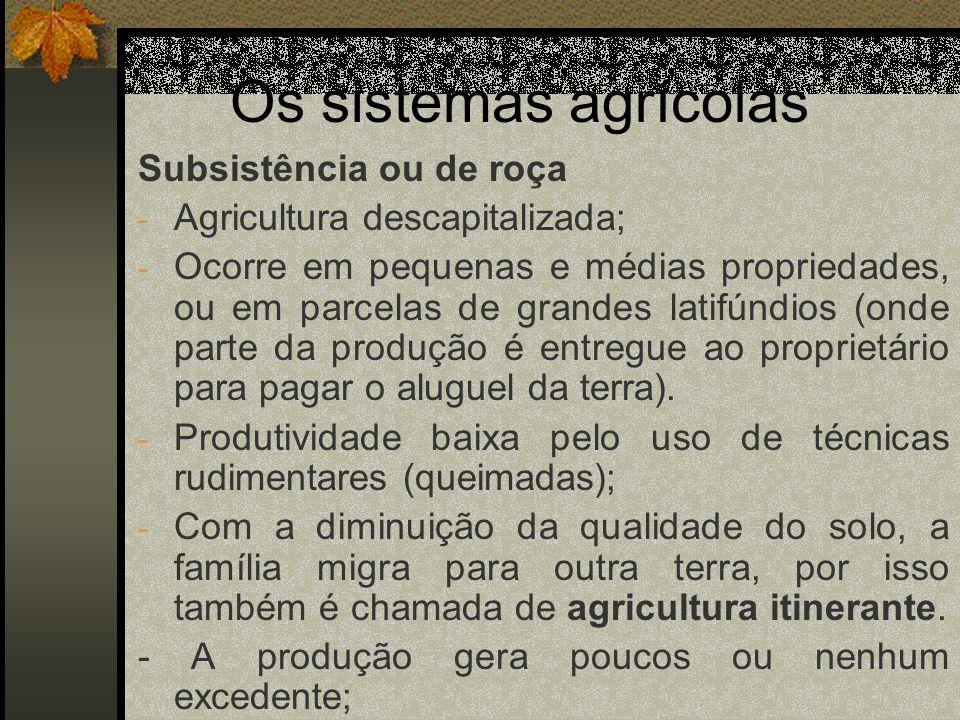 Os sistemas agrícolas Subsistência ou de roça