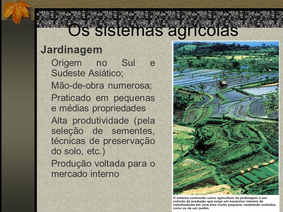 Os sistemas agrícolas Jardinagem Origem no Sul e Sudeste Asiático;