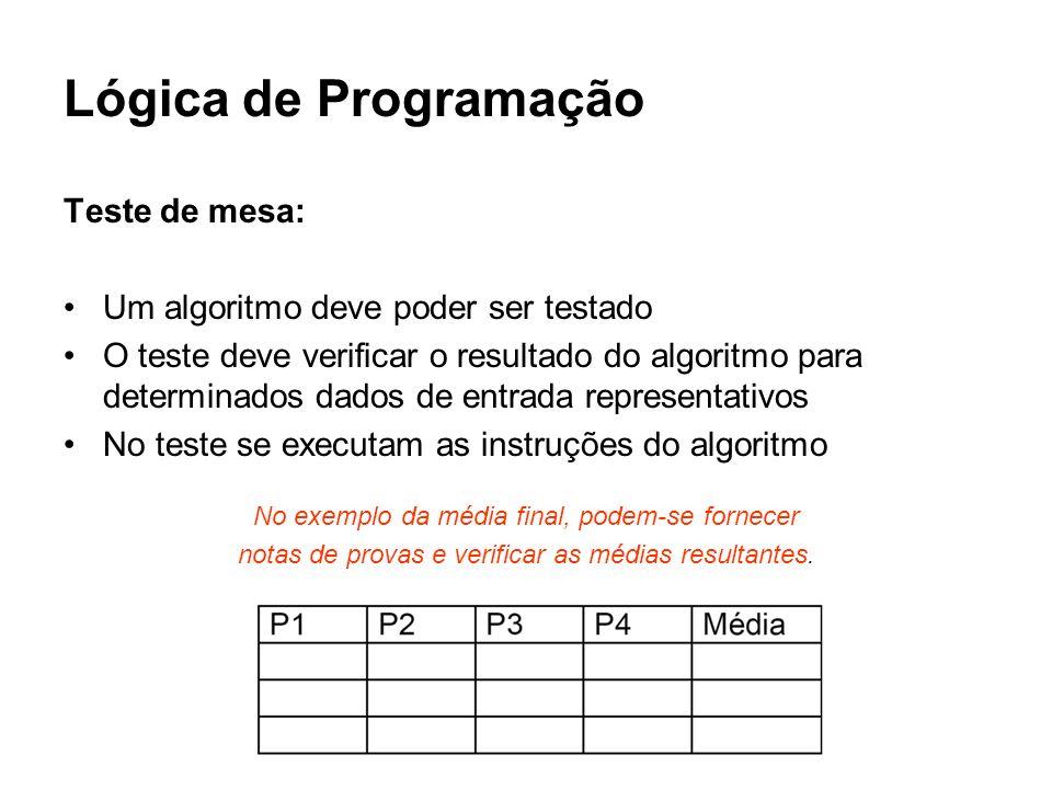 Lógica de Programação Teste de mesa: