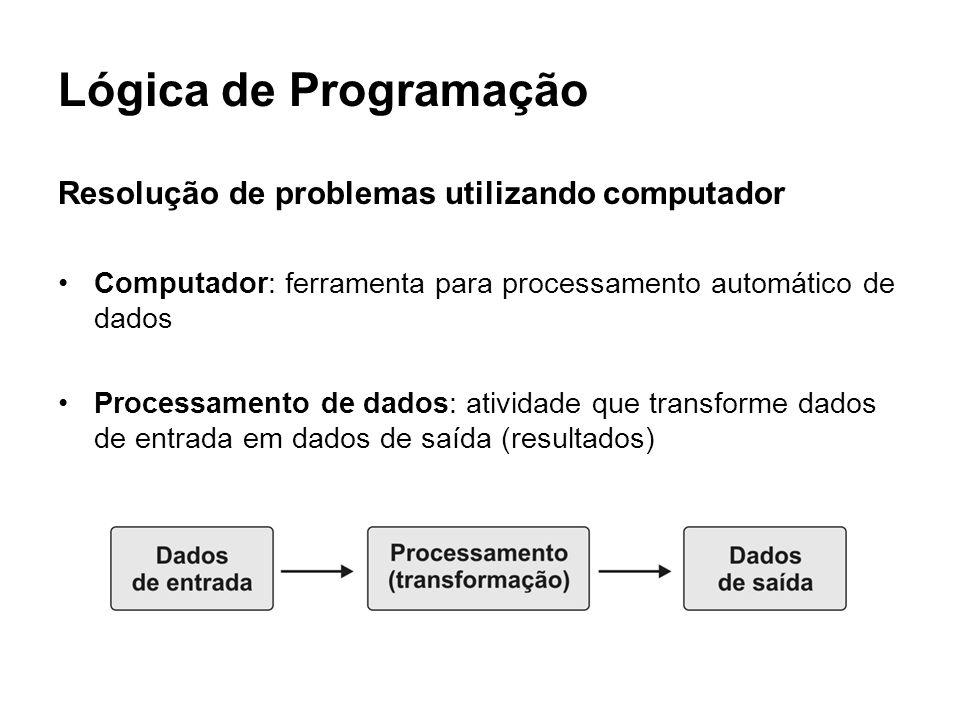 Lógica de Programação Resolução de problemas utilizando computador
