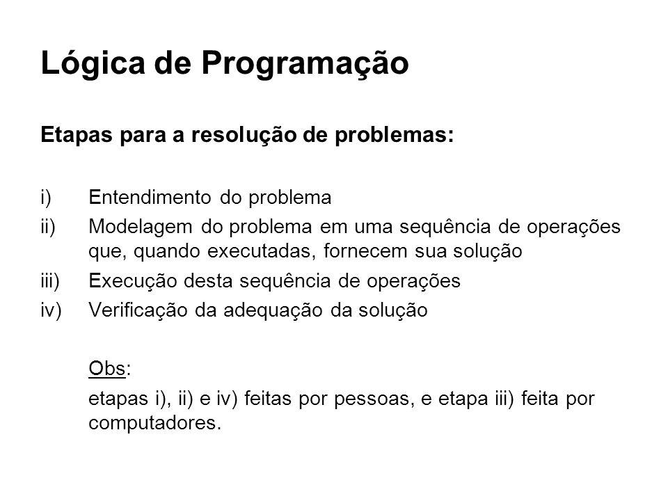 Lógica de Programação Etapas para a resolução de problemas: