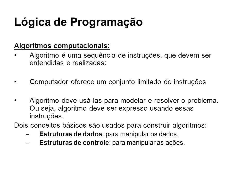Lógica de Programação Algoritmos computacionais: